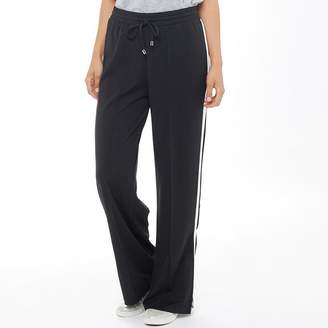 Brave Soul Womens Side Stripe Wide Leg Trousers Black/White
