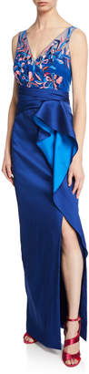 Marchesa Sleeveless Two-Tone Stretch Mikado Column Gown w/ Beaded Bodice & Drape