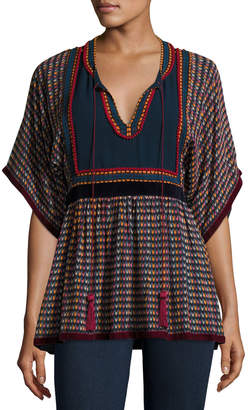 Neiman Marcus Talitha Collection Split-Neck Tie-Back Printed Georgette Peasant Blouse