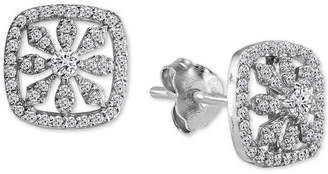 Giani Bernini Cubic Zirconia Pave Flower Stud Earrings in Sterling Silver, Created for Macy's