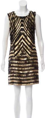 Gucci Leather Metallic-Fringe Dress
