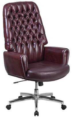Alcott Hill Abbate Traditional Tufted High-Back Leather Executive Chair