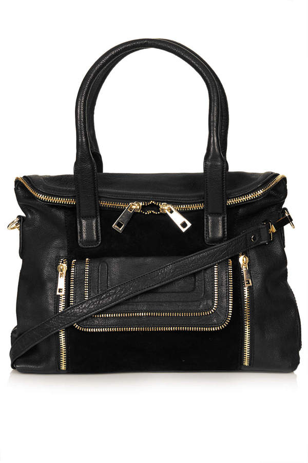 Topshop Multi zip fold pocket leather tote bag