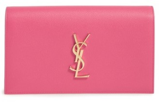 Saint Laurent 'Monogram' Leather Clutch - Pink $1,245 thestylecure.com