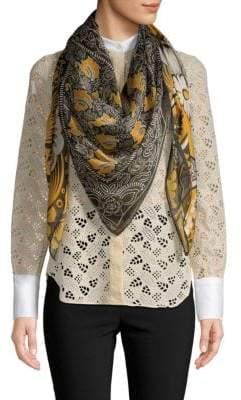 Valentino Patchwork-Print Silk Scarf