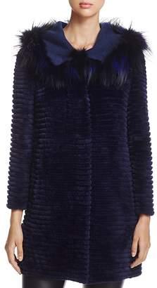 Maximilian Furs Fox Fur-Hood Sheared Beaver Fur Coat