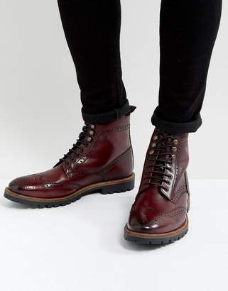 Base London Troop Leather Lace Up Boots In Red