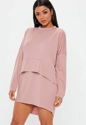 Missguided Rose Oversized Jersey Overlay T Shirt Dress