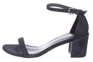 Stuart Weitzman Denim Ankle-Strap Sandals