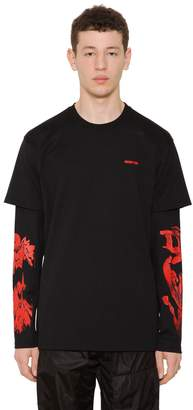 Givenchy Roses Printed Long Sleeve Jersey T-Shirt