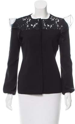 Giambattista Valli Long Sleeve Lace-Accented Cardigan