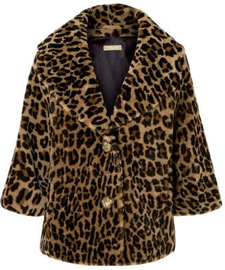 Michael Kors Leopard-print Shearling Coat - Brown