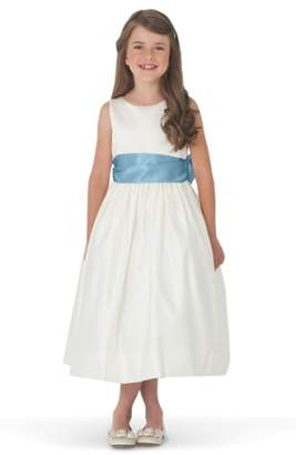 Us Angels Sleeveless Satin Dress with Contrast Sash