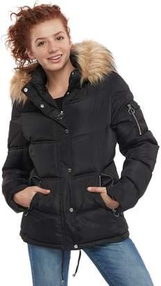 Steve Madden Nyc Juniors' NYC Faux-Fur Short Puffer Jacket