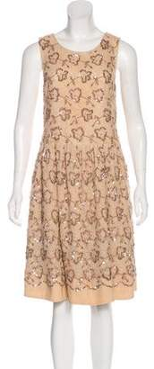 RED Valentino Sequin Embellished Knee-Length Dress