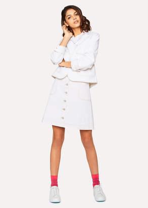 Paul Smith Women's Cream Cotton-Denim Button Down Mini Skirt