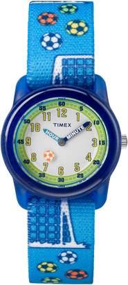 Timex Boys TW7C16500 Time Machines Blue Soccer Elastic Fabric Strap Watch