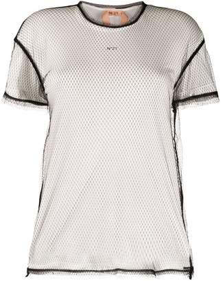 No.21 mesh overlay T-shirt