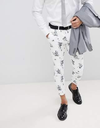 Asos DESIGN Wedding Super Skinny Crop Smart Pants In White Floral Print