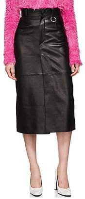 Balenciaga Women's Leather Pencil Skirt - Black