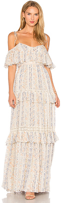 Needle & Thread Floral Stripe Maxi Dress in Beige $599 thestylecure.com