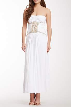 Sky Uriel Beaded Front Strapless Dress