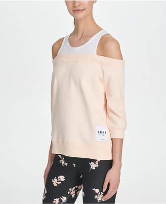 DKNY Sport Cotton Cold-Shoulder Top