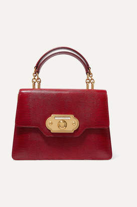 Dolce & Gabbana Welcome Medium Lizard-effect Leather Tote - Red