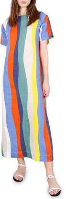 Sonora Whit Striped Button-Back Long Dress