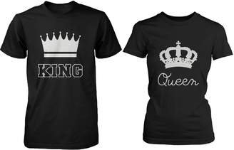 365 Printing Cute Matching Couple Shirts - King and Queen Cotton T-shirt Set