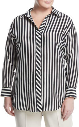 Go Silk Striped Georgette Button-Front Blouse, Plus Size