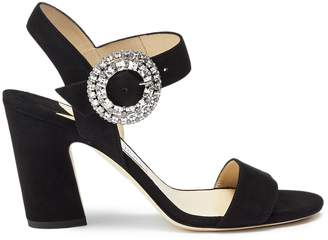 Jimmy Choo 'Mischa 85' glass crystal buckle suede sandals
