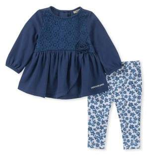 Calvin Klein Baby Girl's Two-Piece Front Lace Tunic & Floral-Print Leggings Set