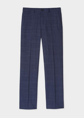 Paul Smith Men's Mid-Fit Navy Wool-Silk Check Trousers