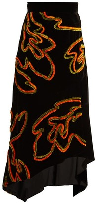 Peter Pilotto Floral Chenille Asymmetric Velvet Skirt - Womens - Black Print