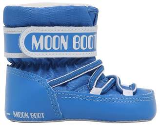 Moon Boot Nylon Canvas Snow Boots W/ Strap