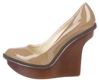Stella McCartney Vegan Patent Leather Pointed-Toe Wedges