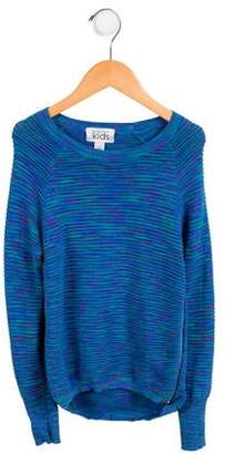 Autumn Cashmere Girls' Striped Zip-Accented Sweater