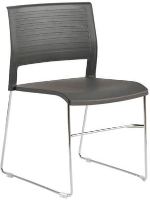Euro Style Renate Stack Chair, Anthracite With Chrome Base