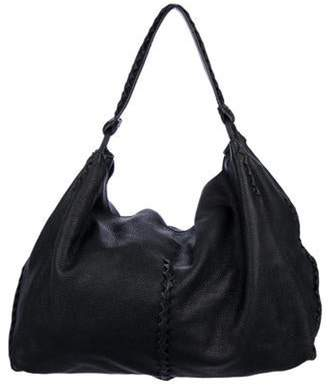Bottega Veneta Intrecciato-Trimmed Leather Tote Black Intrecciato-Trimmed Leather Tote