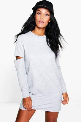 boohoo Cut Out Sleeve Sweat Dress