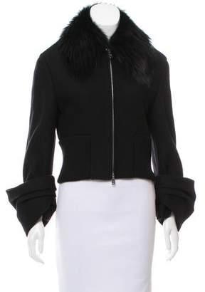 Prada Fox Fur-Trimmed Wool-Blend Jacket