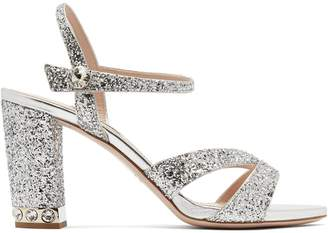 Miu Miu Glitter-embellished open-toe leather sandals