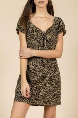 Pretty Little Things Leopard Puff-Sleeve Dress