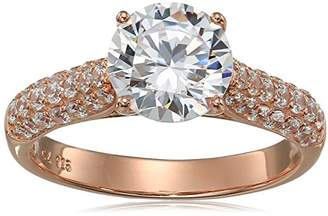14k Gold Plated Sterling Silver Cubic Zirconia Solitaire with Band Accents Engagement Promise Ring
