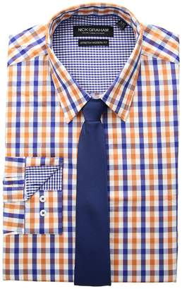 Nick Graham Multi Gingham Check Stretch Shirt with Micro Solid Dobby Tie Men's Long Sleeve Button Up