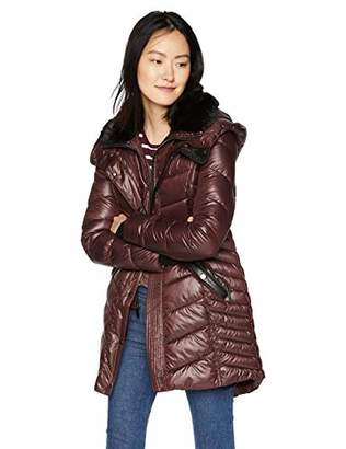 French Connection Women's 3/4 Faux Fur Collar Puffer,S