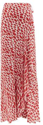Adriana Degreas Baccio Lip Print Midi Wrap Skirt - Womens - Red White