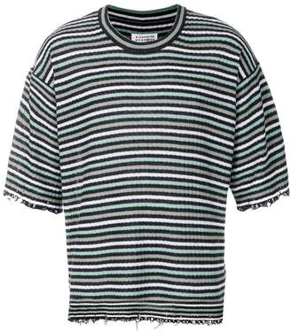 Maison Margiela distressed striped T-shirt