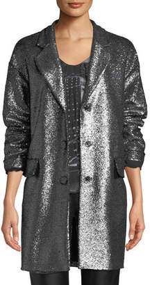 Moschino Metallic Boucle Long Jacket